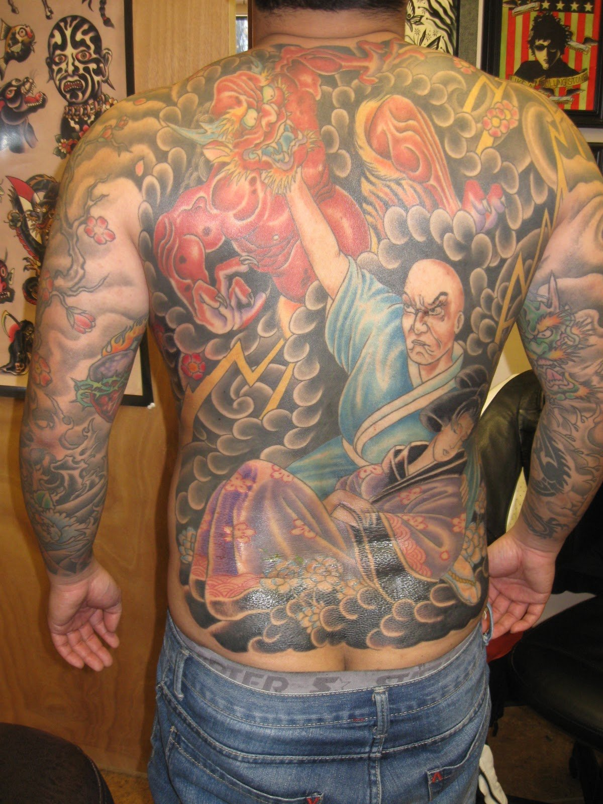 Colored African Tattoo On Full Back