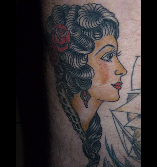 Red Rose And African Girl Head Tattoo