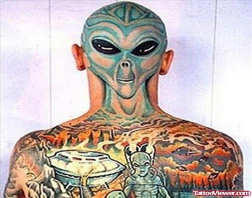 Colored Ink Back Body Alien Tattoo