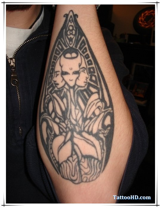 Best Grey Ink Alien Tattoo On Left Arm