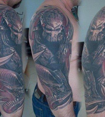 Half Sleeve Alien Tattoo