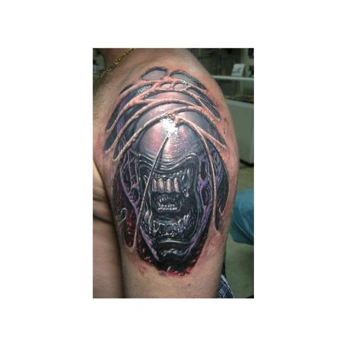 Left Shoulder Alien Tattoo For Men