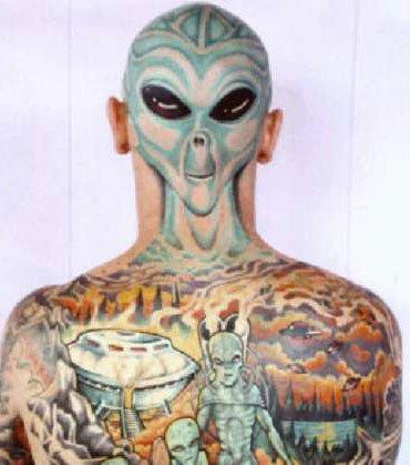 Colored Ink Back Body Alien Tattoo For Men