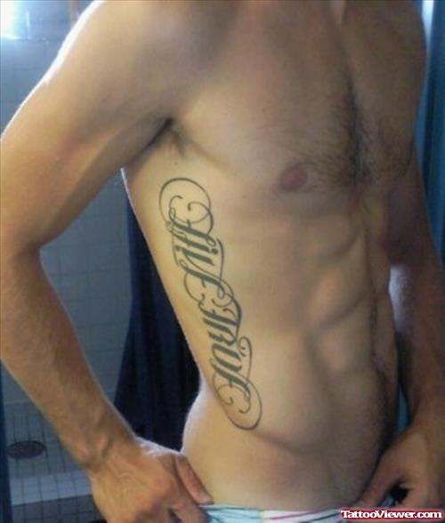 Man Side Rib Ambigram Love Life Tattoo