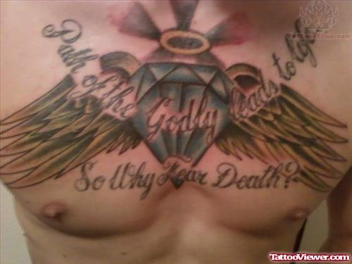 Angel Winged Diamond Tattoo On Chest
