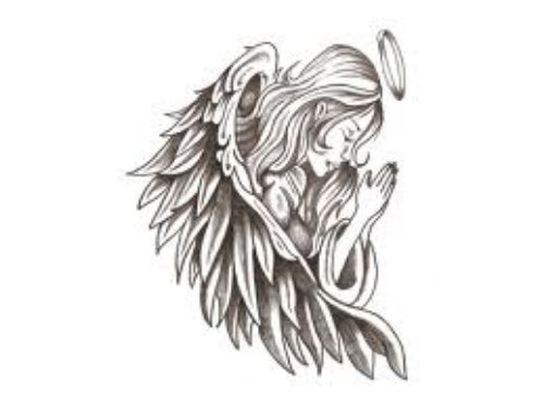 Praying Angel Girl Tattoo Design