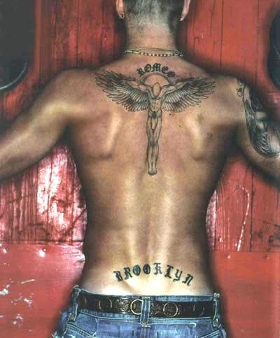 Open Wings Male Angel Tattoo On Upperback