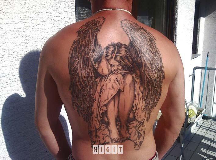 Sad Angel Tattoo On Man Full Back