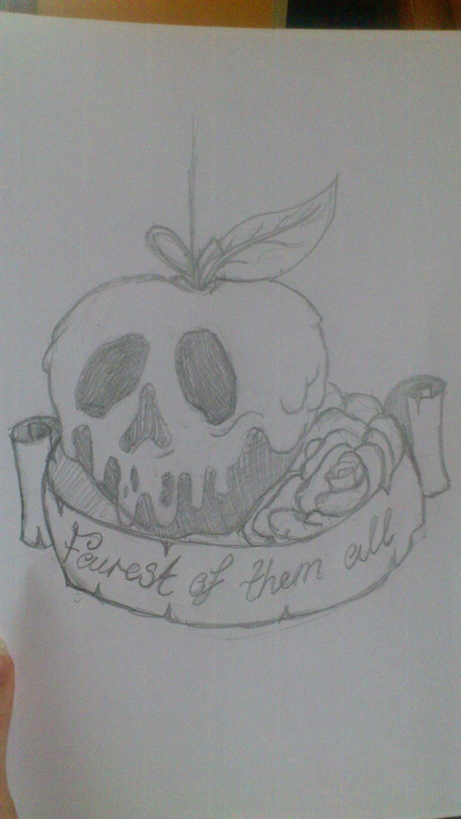 Banner And Poison Apple Tattoo Design