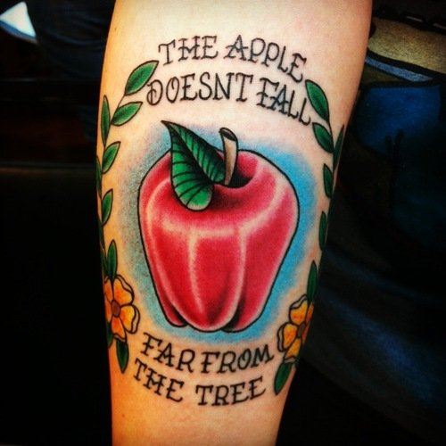 The apple Does't Fall Far From The Tree - Apple Tattoo