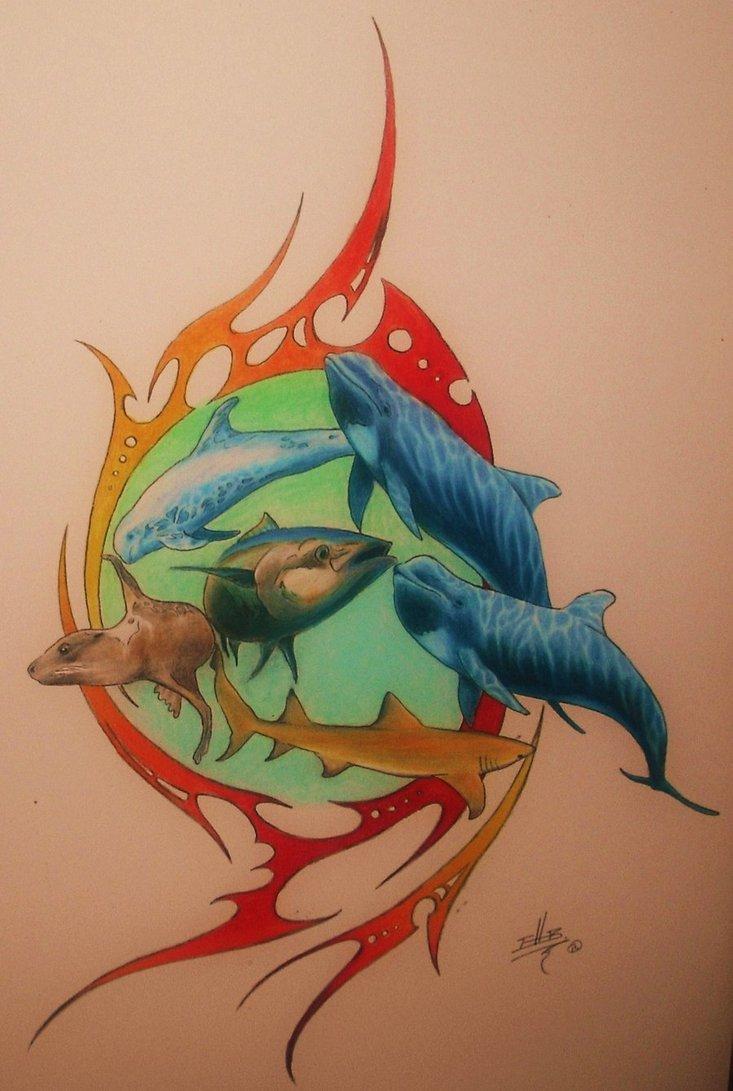 Colored Fish Aqua Tattoos Design