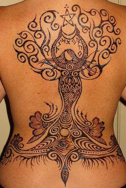Henna Aquarius Tattoo On Back