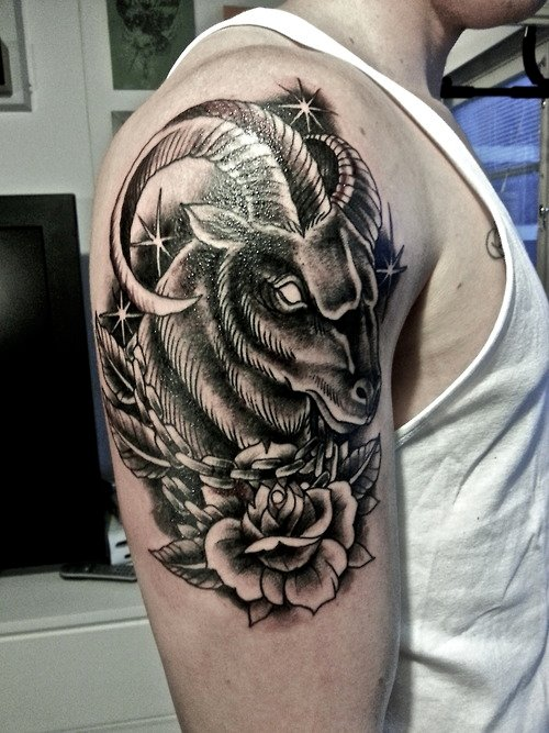 Grey Flower And Aries Head Tattoo On Shoulder