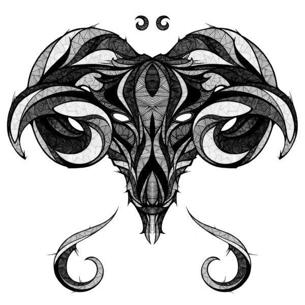 Amazing Tribal Aries Skull Tattoo Design
