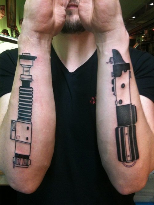 Pistons Tattoos On Both Arms