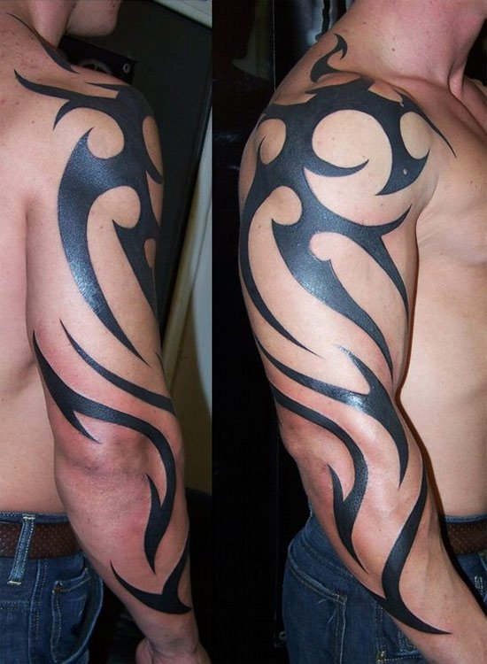 Latest Black Ink Tribal Tattoo On Right Arm