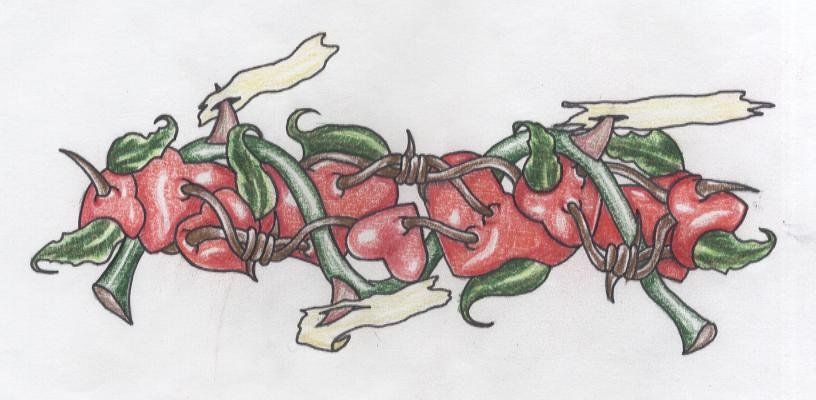 Thorns And Barbed Wire Heart Armband Tattoo Design