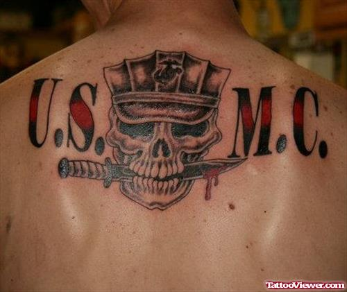 USMC Army Tattoo On Man Upperback
