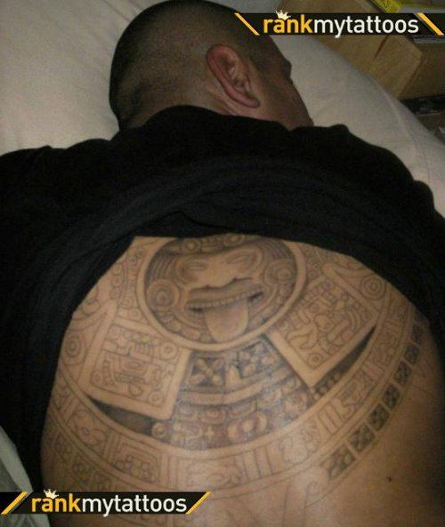 Grey Ink Aztec Tattoo On Back