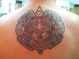 Fantastic Aztec Tattoo On Man Upperback
