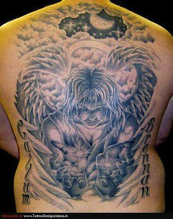 Baby Angel Girl Tattoo On Back Body