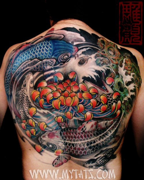 Colored Ink Koi and Flower Back Tattoo