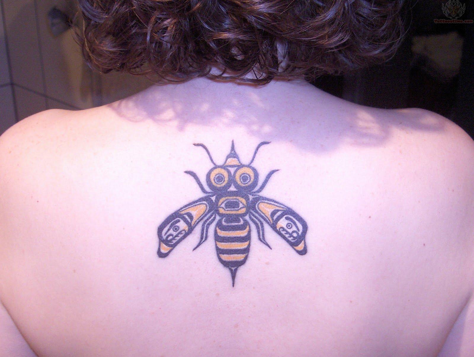 Upper Back Bee Tattoo