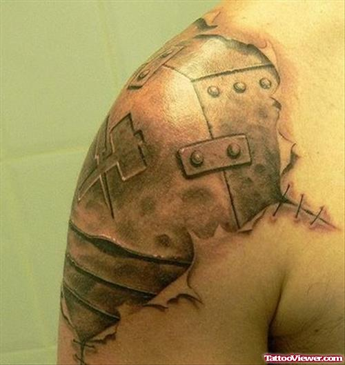 Armor Biomechanical Tattoo