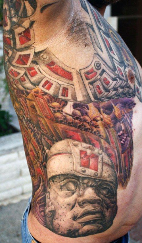 Man Rib Side Biomechanical Tattoo