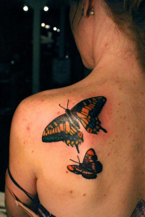 Left Back Shoulder Colored Butterfly Tattoos