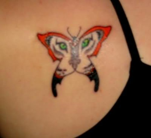 Tiger Eyes Butterfly Tattoo