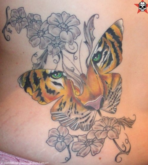 Grey Flowers and Tiger Butterfly Tattoo