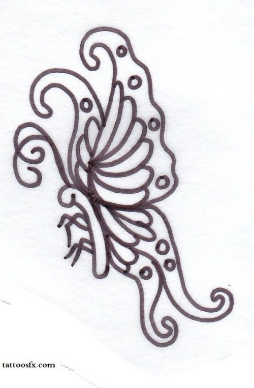 Outline Butterfly Tattoo Design
