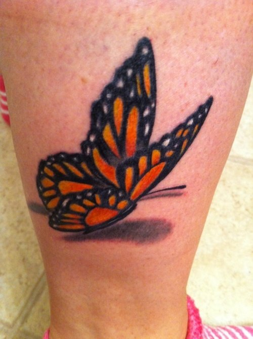 Awesome 3D Butterfly Tattoo On Leg
