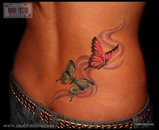 Red And Blue Butterflies Tattoos On Girl Back