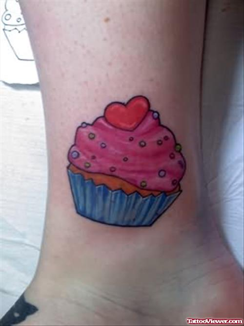 Strawbery Cake Tattoo On Ankle