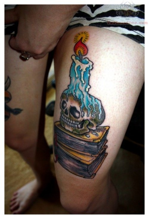 Burning Candle Tattoo On Thigh