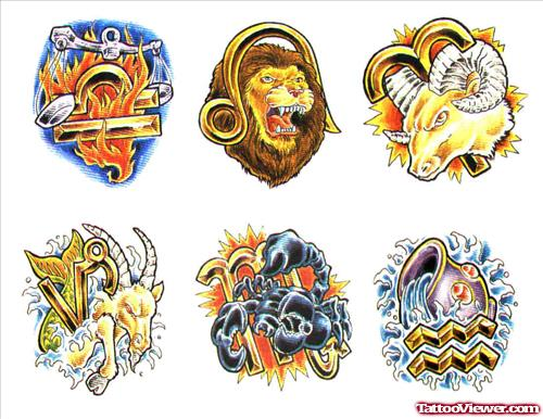 Awesome Colored Zodiac Capricorn Tattoos Designs For Men