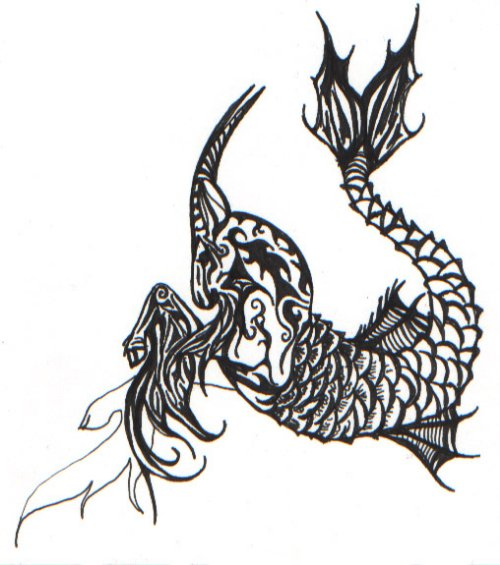 Beautiful Grey Ink Capricorn Tattoos Design