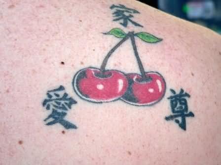 Chinese Symbol And Cherry Tattoo