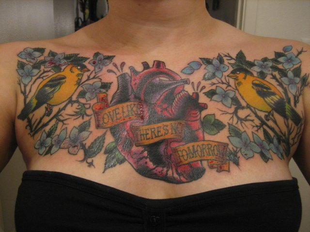 Goldfinch Birds With Human Heart And Flowers Tattoo On Chest