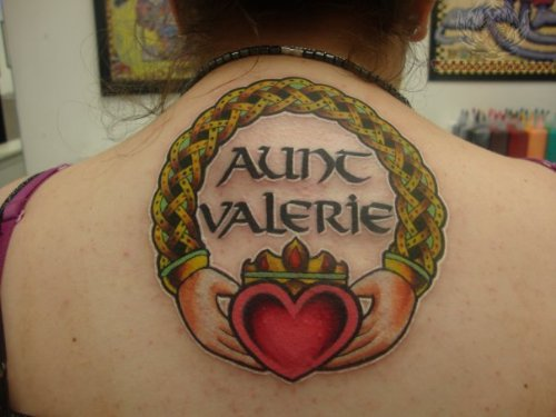 Memorial Claddagh Tattoo On Back