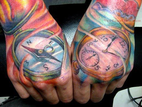 Compass And Watch Tattoos On Hand