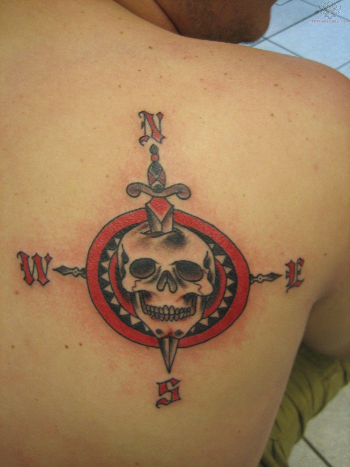 Skull Dagger Compass Tattoo