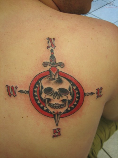 Skull Dagger Compass Tattoo