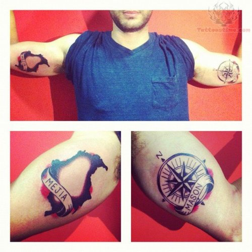 Compass Tattoos On Muscles