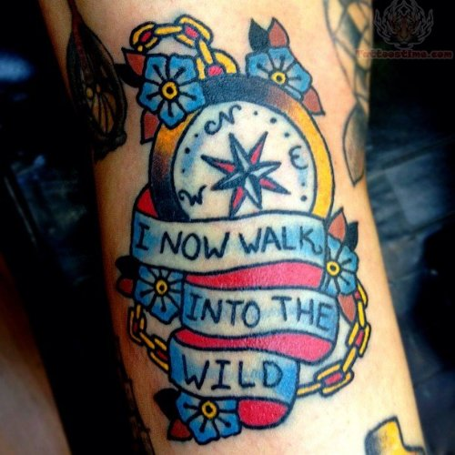 Colorful Compass Tattoo