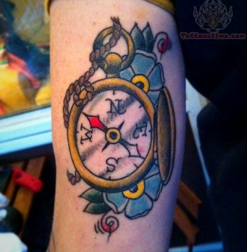 Flower And Compass Tattoo On Bicep