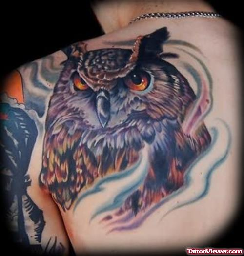 Crab And Owl Tattoo On Back Shoulder