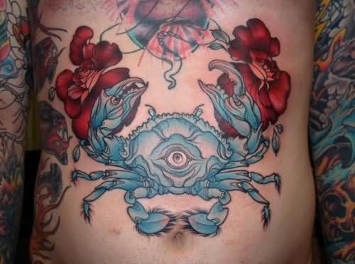 Crab  Tattoo On Front Body